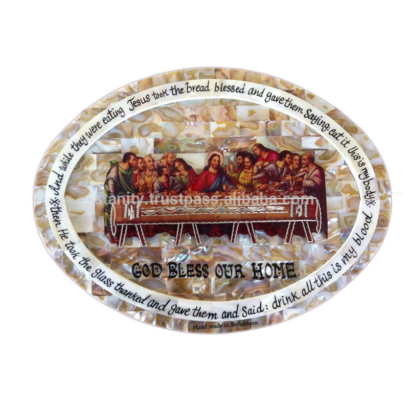 手作りの神は私たちの上をマザーオブパールプラークで塗装アルミ最後の晩餐プレートから聖地-ベツレヘム-宗教工芸品問屋・仕入れ・卸・卸売り