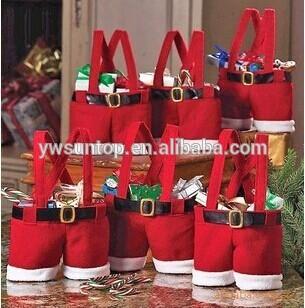 2016かわいいサンタパンツスタイルクリスマスキャンディギフトバッグ卸売-造花問屋・仕入れ・卸・卸売り