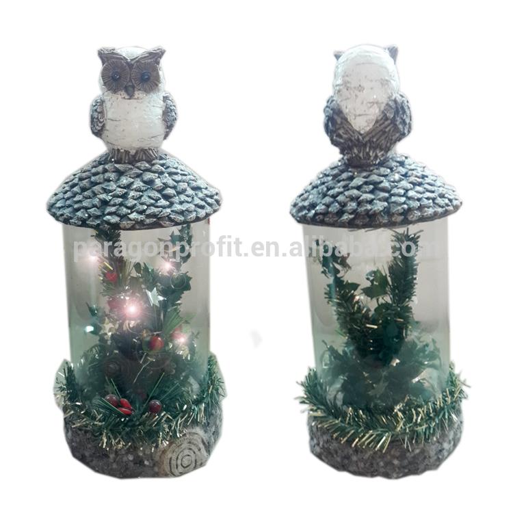 エレガントなledライト付きポリレジンクリスマスフクロウ像家の装飾のための-樹脂工芸品問屋・仕入れ・卸・卸売り
