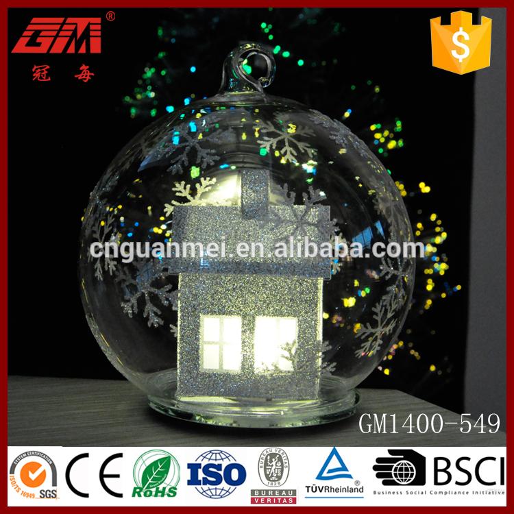 新製品クリスマスled付きガラスボールpvc家の内側-その他イベント、パーティー用品問屋・仕入れ・卸・卸売り
