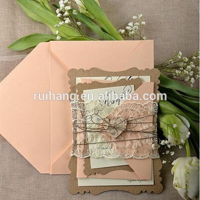 ホット販売チャーミング桃レース結婚式の招待状でひも&封筒-造花問屋・仕入れ・卸・卸売り