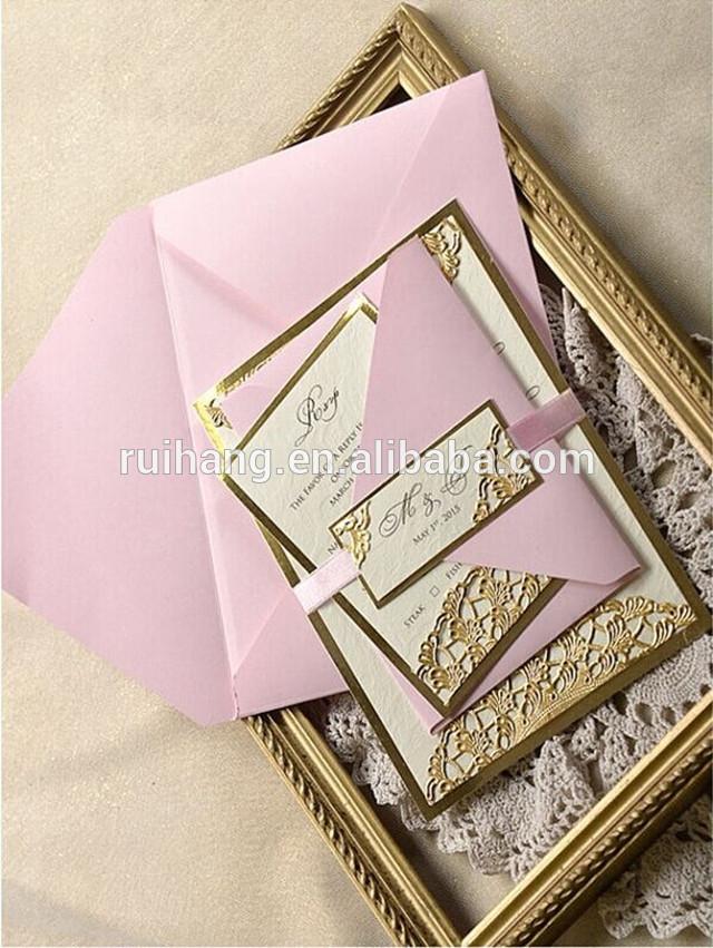 新しい到着豪華な黄金レーザーカット結婚式招待状封筒-造花問屋・仕入れ・卸・卸売り