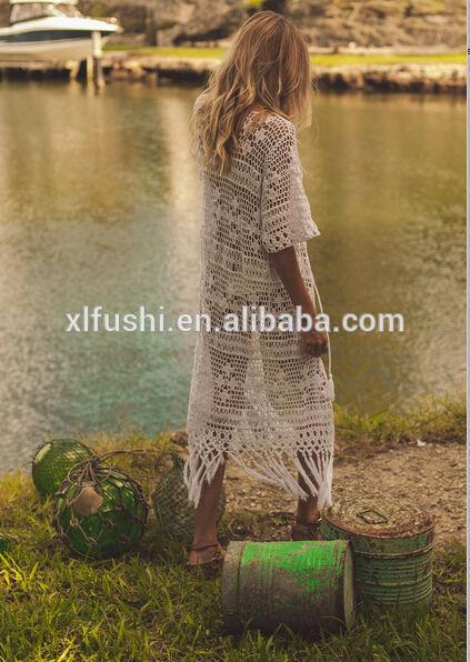 新しい デザイナー フリンジ裾セクシー な ビーチ水着かぎ針編み カバー アップ-水着類問屋・仕入れ・卸・卸売り