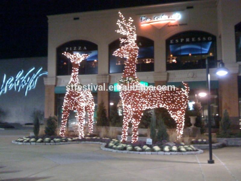 屋外の巨大なアニメーションledライト付クリスマスのトナカイ-パーティー、祭り用照明問屋・仕入れ・卸・卸売り