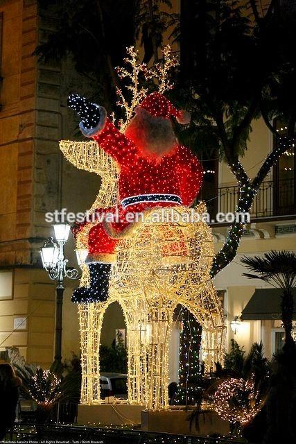 屋外の明るい2015サンタとトナカイの装飾-パーティー、祭り用照明問屋・仕入れ・卸・卸売り