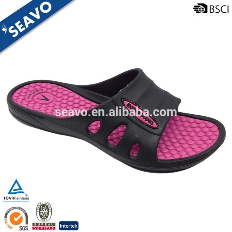 Seavo 2016クラシックダブルカラーデザインカスタムロゴプリント桃と黒安い女性evaスリッパサンダル-クロックス問屋・仕入れ・卸・卸売り