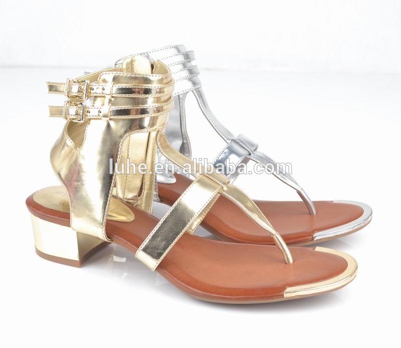 新しいモデルシンプルなストラップアッパー金属エッジつま先ローヒールサンダル2016-革靴問屋・仕入れ・卸・卸売り