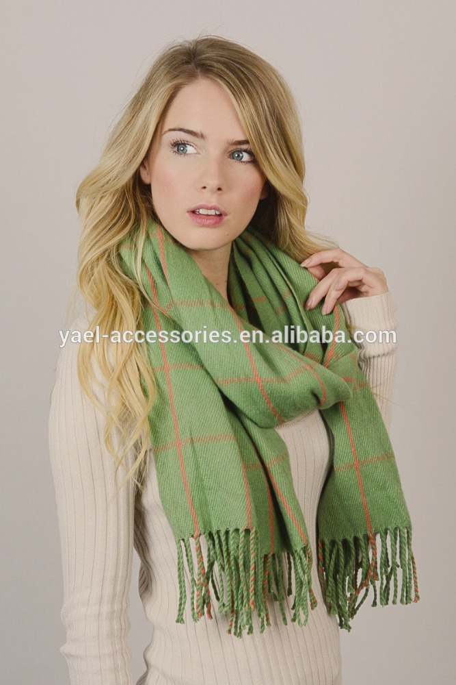 Yael新しいファッション冬グリッド毛布タッセルスカーフ-マフラー、帽子、手袋セット問屋・仕入れ・卸・卸売り