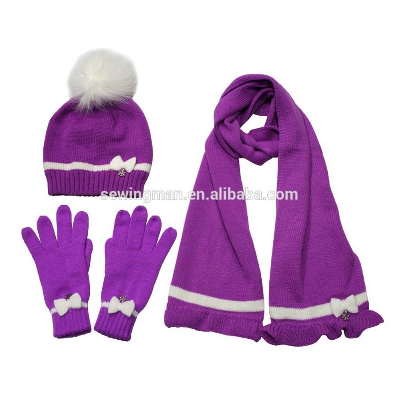 Girls'acrylicカシミヤニットフォックスファーポンポンとマッチしたちょう結びの帽子スカーフミトン-マフラー、帽子、手袋セット問屋・仕入れ・卸・卸売り