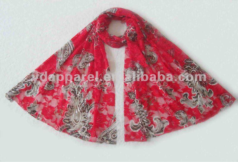 170L*50Wcm赤い印刷物のレースのscarfshawlsscarves (SCF121008_1580)-マフラー、帽子、手袋セット問屋・仕入れ・卸・卸売り