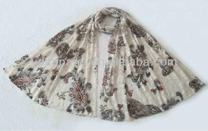 クリーム色のレースの内部のスカーフの冬の覆いのショール(SCF121008_1595)-マフラー、帽子、手袋セット問屋・仕入れ・卸・卸売り