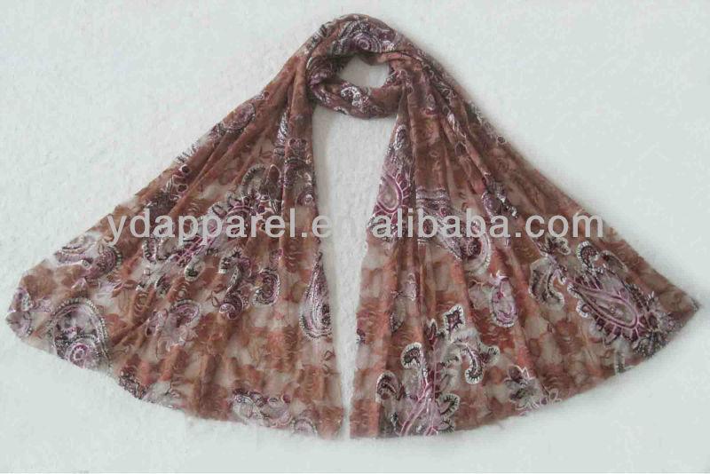 イスラム教の女性の赤茶色のスカーフかスカーフ(SCF121008_1604)-マフラー、帽子、手袋セット問屋・仕入れ・卸・卸売り