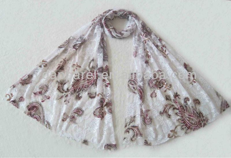 方法レースのスカーフ、花のhijabs、イスラム教は包む(SCF121008_1576)-マフラー、帽子、手袋セット問屋・仕入れ・卸・卸売り