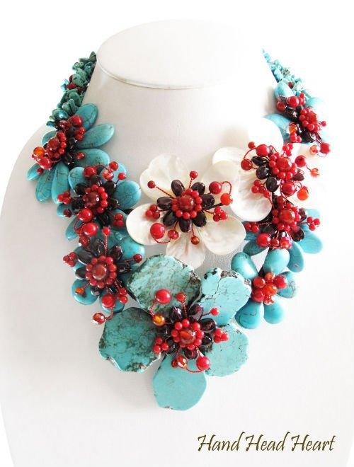 アメージング青花花ターコイズネックレス宝石手作り-ファッションアクセサリーデザインサービス問屋・仕入れ・卸・卸売り