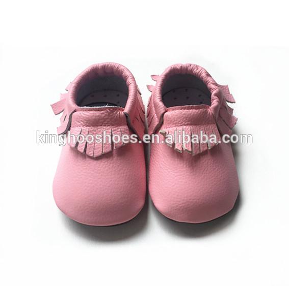 ピンクカラー赤ちゃんラバーソールモカシン靴、屋外赤ちゃんウォーキングシューズ-ベビー靴問屋・仕入れ・卸・卸売り