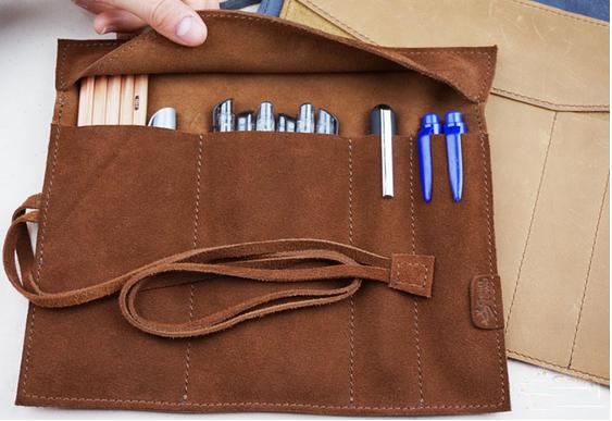 柔らかいスエードハンドメイドレザーペンケース、 ペンバッグケースクール-その他財布、ケース問屋・仕入れ・卸・卸売り