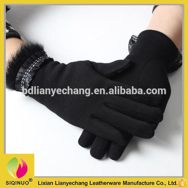 パーソナライズ女性手袋ファッション レディー カシミア手袋で リアル ウサギ の毛皮トリム-問屋・仕入れ・卸・卸売り