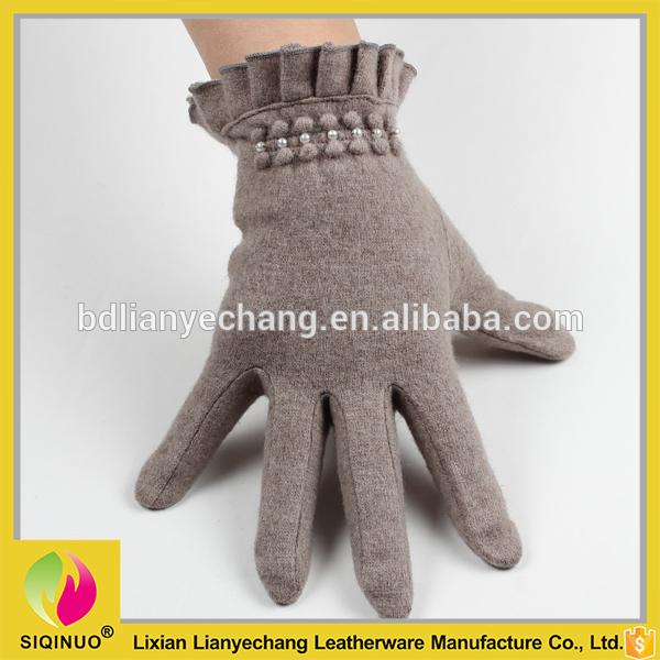 ファッション女性フルフィンガー真珠冬暖かい手首ニットウール手袋-問屋・仕入れ・卸・卸売り