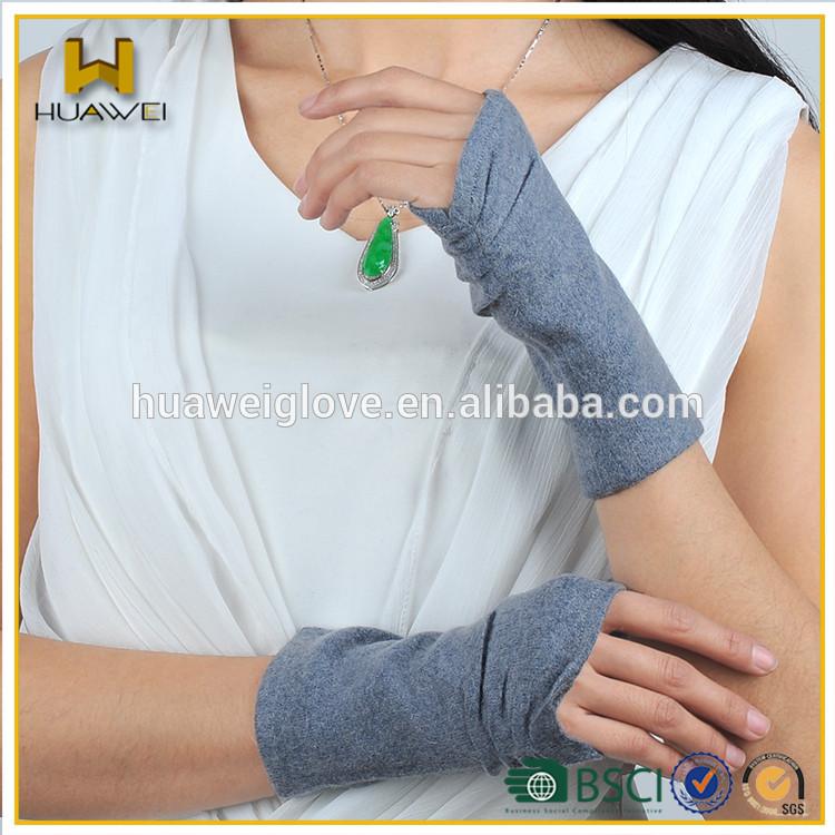 ウールファッション女性指なし手袋、 灰色の羊毛ハーフフィンガー手袋春と秋のための-ウール手袋、ミトン問屋・仕入れ・卸・卸売り