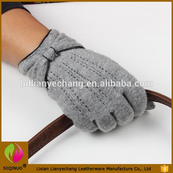 2016工場供給高品質グレー安い価格用女性暖かいカシミヤライニングスマート電話ウール手袋-問屋・仕入れ・卸・卸売り