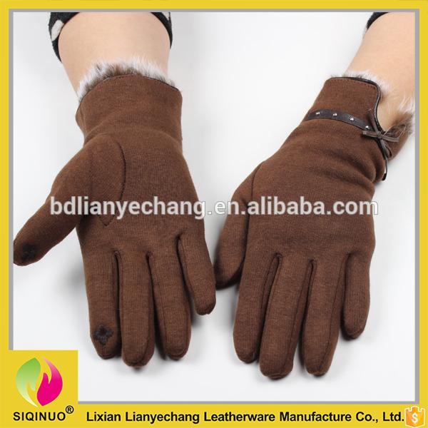 女性のウールトップ手袋安いタッチスクリーン手手袋ラビットファー付き-問屋・仕入れ・卸・卸売り