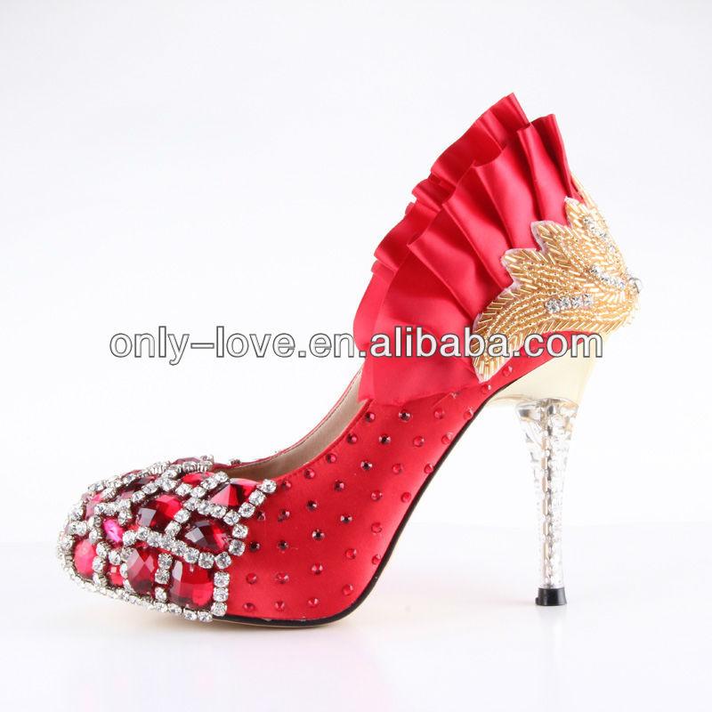 大きいサイズを作るカスタムbs65610cm赤水晶結婚式の靴の花嫁の靴-フォーマルシューズ問屋・仕入れ・卸・卸売り