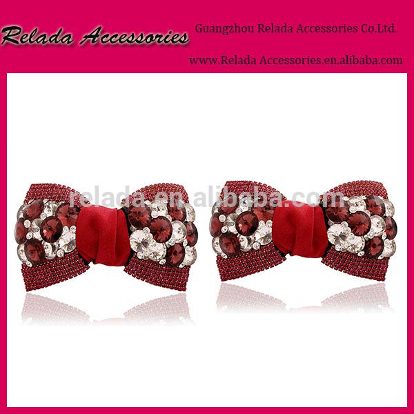 ワイン赤い色の弓結婚式用の花の装飾オーナメントシュークリップ金属クリップ付き靴の魅力-シューズデコレーション問屋・仕入れ・卸・卸売り
