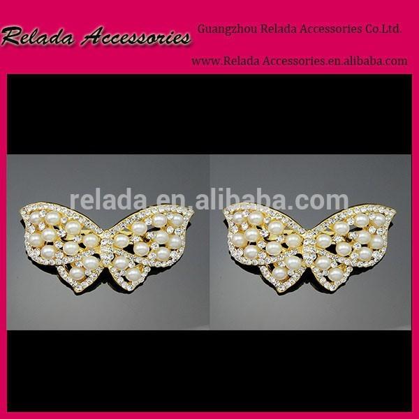 水晶が付いているファッション蝶のシュークリップ、 金メッキシュークリップ真珠販売のための蝶のシュークリップ。 rld0070rsc-シューズデコレーション問屋・仕入れ・卸・卸売り