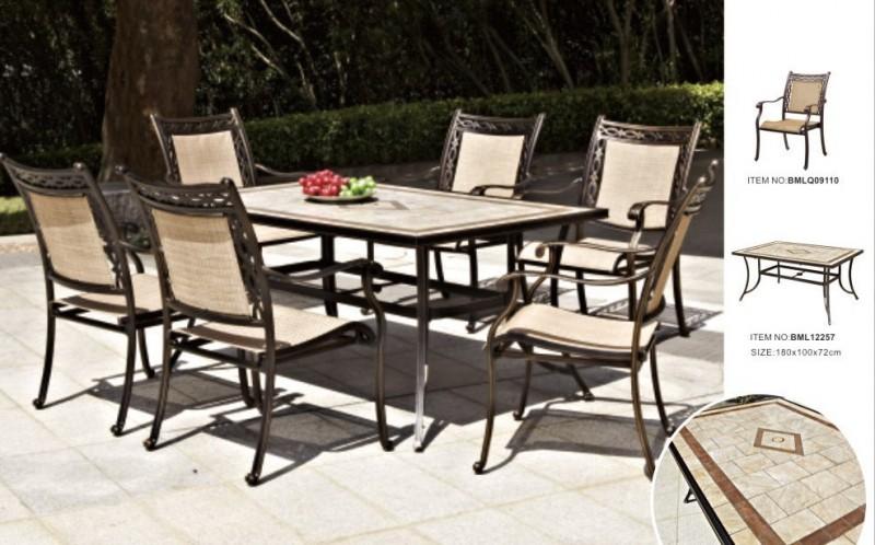 ホット!!! 使用して屋外ガーデン家具は簡単- クリーニング安い6席キャストアルミダイニングセット-ガーデンセット問屋・仕入れ・卸・卸売り