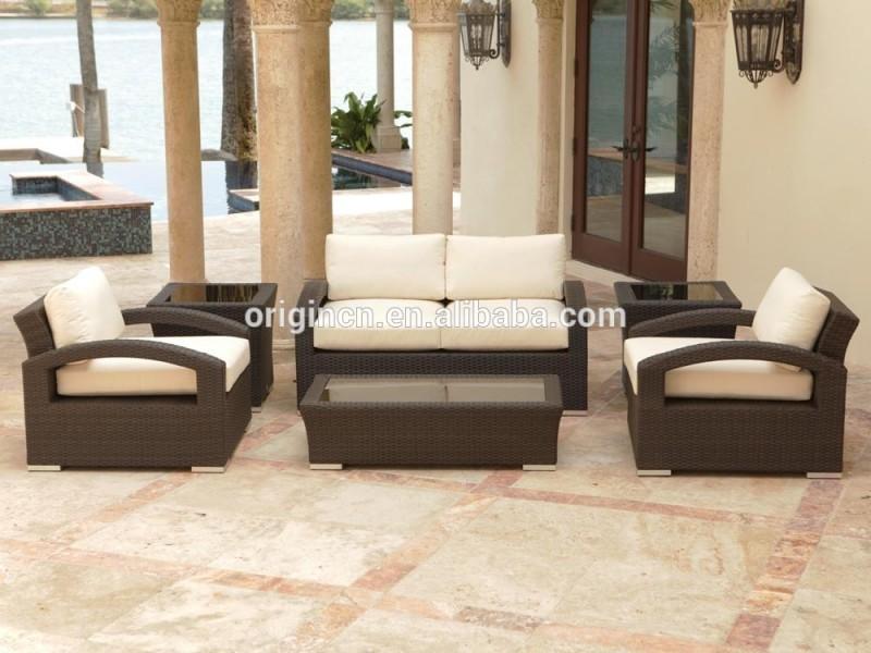 なめらか な パティオ籐ソファー セット で湾曲腕と ガラス トップ サイドテーブル屋外alibaba の家具-ガーデンセット問屋・仕入れ・卸・卸売り