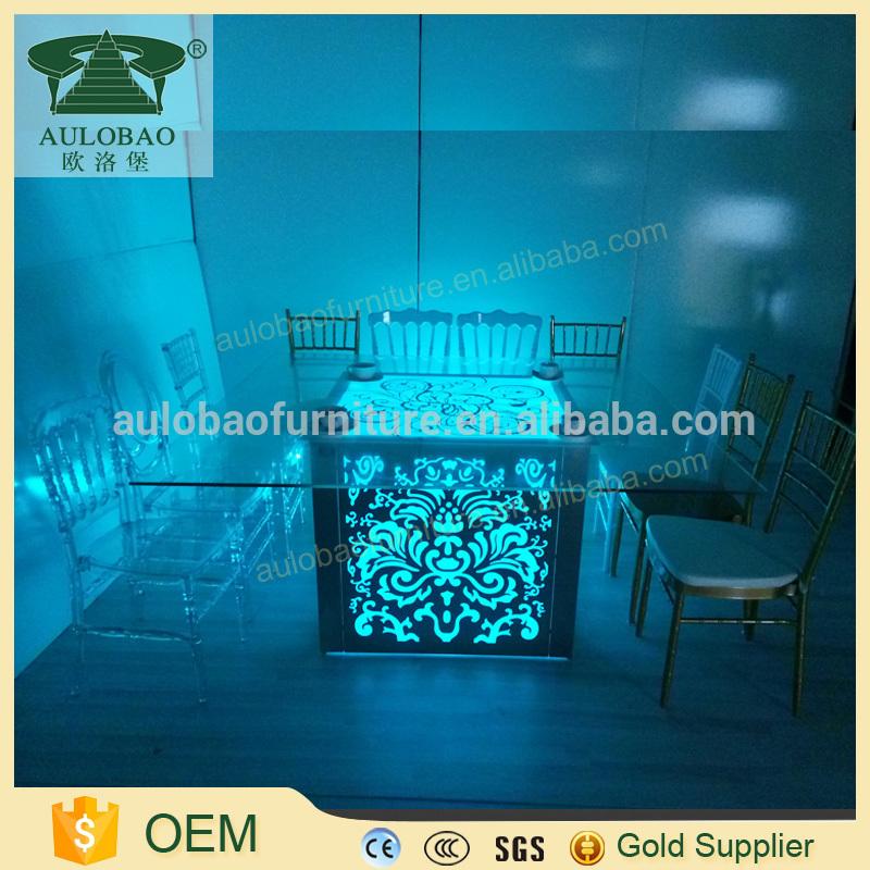豪華なledスクエアled結婚式のテーブル、表ledライト用ウェディング-食卓問屋・仕入れ・卸・卸売り