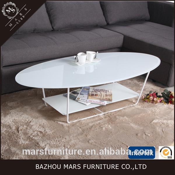 安いオーバルガラストップ白いコーヒーテーブル-コーヒーテーブル問屋・仕入れ・卸・卸売り