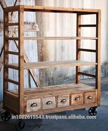 industrial本棚の車輪が付いている、 埋め立て木材車輪の上に引き出し付き本棚-その他木製家具問屋・仕入れ・卸・卸売り