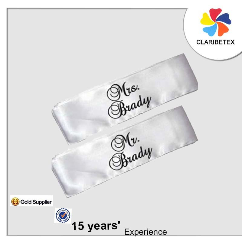 ロマンチックな名ロゴ刺繍ウェディングブライダル椅子装飾サッシバンドリボン-サッシュ問屋・仕入れ・卸・卸売り