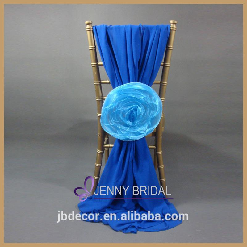 エレガントな青色のc214a付きオーガンザの花のシフォン椅子のサッシをカバー-サッシュ問屋・仕入れ・卸・卸売り