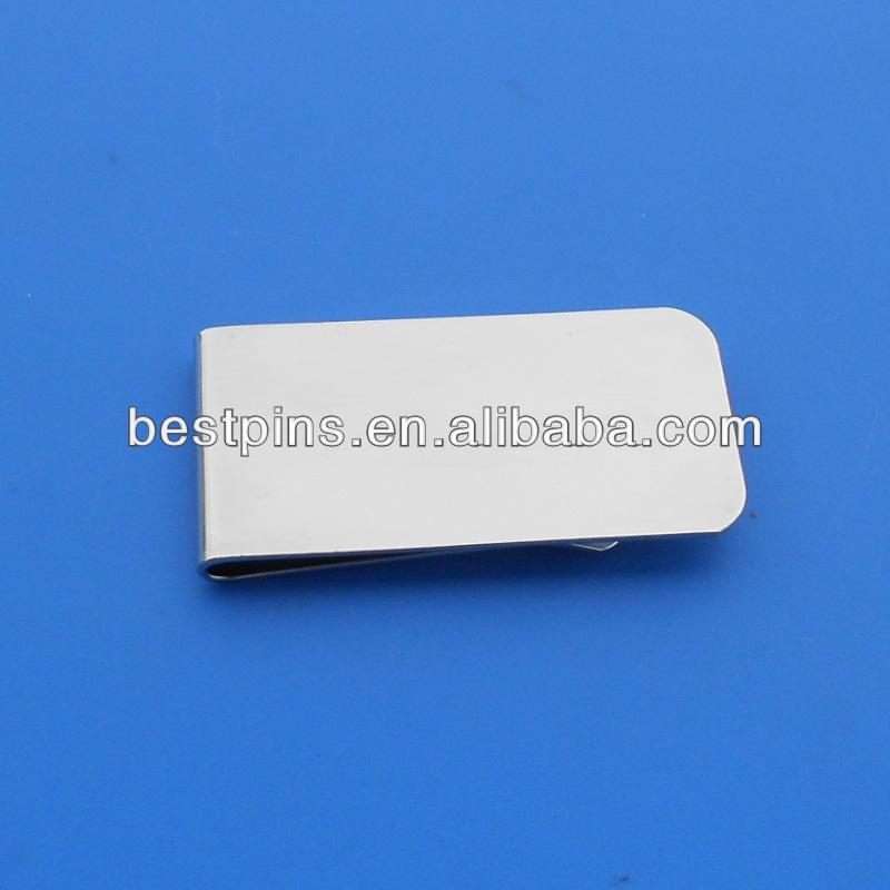 空白マネークリップ、 銀メッキの真鍮マネークリップ、 カスタムレーザー刻印現金ホルダー-皮革製品問屋・仕入れ・卸・卸売り