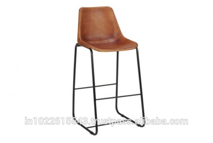 鉄の革のダイニング・giron高いバーの椅子、 工業用heighレザーメタルチェア-本革問屋・仕入れ・卸・卸売り