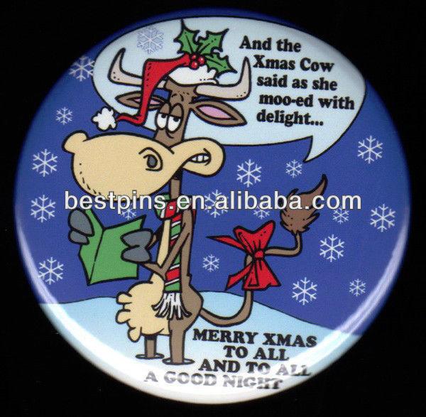 クリスマスピンバッジ、 フルカラーmangetクリスマスラペルピン、 磁気バッジの牛の金属クリスマスデザイン-皮革製品問屋・仕入れ・卸・卸売り