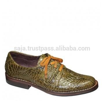 のワニ革の靴男性用smcrs- 018-皮革製品問屋・仕入れ・卸・卸売り