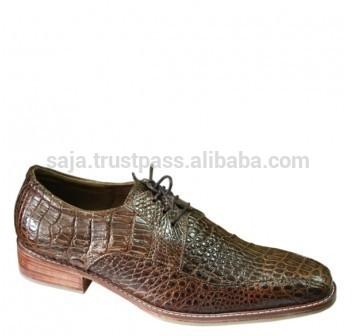 のワニ革の靴男性用smcrs- 016-皮革製品問屋・仕入れ・卸・卸売り