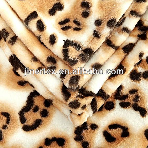 ポリエステル100%leopardo印刷ソフトfranela/フランネルの布-ニット生地問屋・仕入れ・卸・卸売り