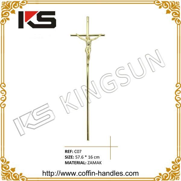 明るいブラス葬儀棺のクロスの棺の十字架イエスと一緒に-葬祭用品問屋・仕入れ・卸・卸売り