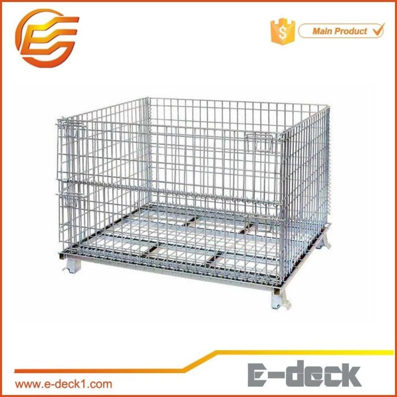 折り畳み式のワイヤーメッシュコンテナ積み重ね可能なストレージケージの金属のバスケット-貨物、保管設備問屋・仕入れ・卸・卸売り