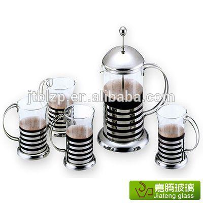 ガラスのコーヒーのエスプレッソのコーヒーメーカーフレンチプレスステンレス製のハンドル付き-コーヒーセット、ティーセット問屋・仕入れ・卸・卸売り