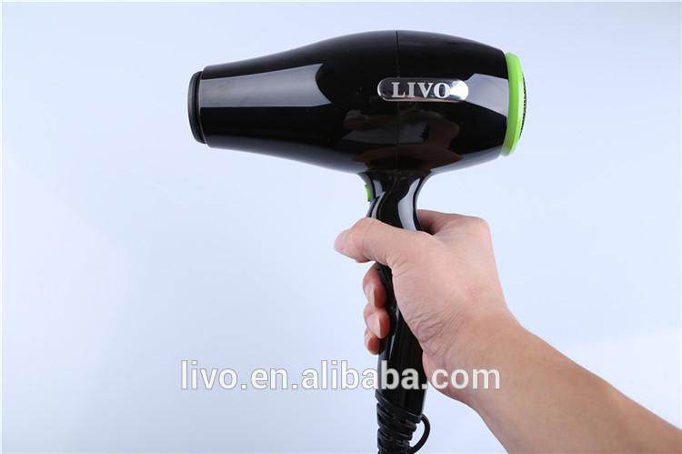Livo 2100ワット優れたナイロンpa66材料黒高光沢プロフェッショナルイオンacヘアドライヤー問屋・仕入れ・卸・卸売り