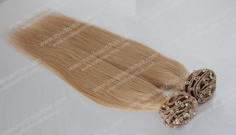 シルク24インチブラジルの毛のストレートヘア横糸とマイクロビーズで株式問屋・仕入れ・卸・卸売り