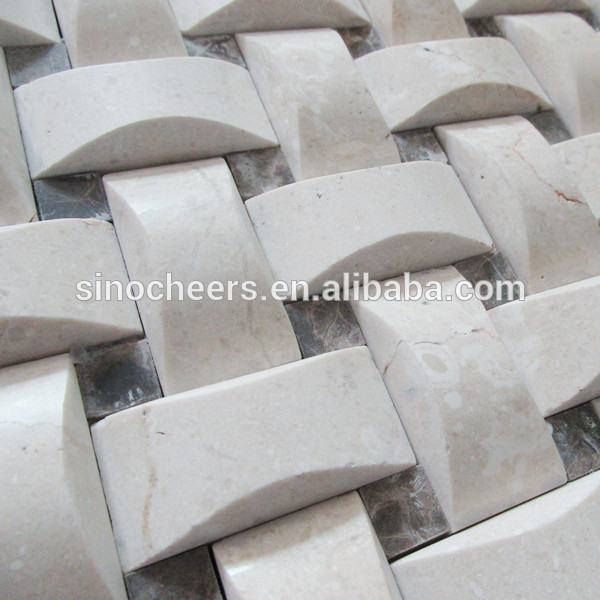 クリームマーフィル大理石のモザイク熱い販売、 大理石のモザイクタイル、 モザイク問屋・仕入れ・卸・卸売り