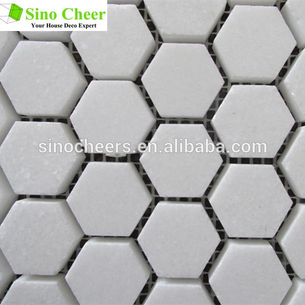 六角形の形状を高品質タソス白の大理石のモザイク石問屋・仕入れ・卸・卸売り