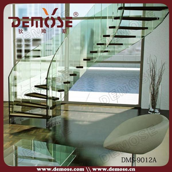 湾曲し た内部階段住宅ガラス階段価格問屋・仕入れ・卸・卸売り